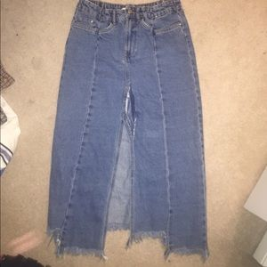 ZARA distressed midi jean skirt